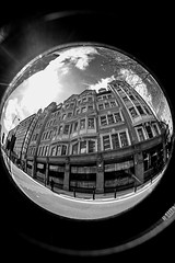 joshua hoyles and sons monochrome (PDKImages) Tags: old broken monochrome architecture manchester gate doors fisheye hidden forgotten bubble contrasts manchesterfirestation unlved