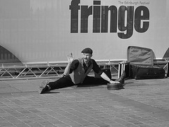Stretch Armstrong (Count me out - in) Tags: street scotland edinburgh wave fringe stretch streetperformer waving edinburghfestival lothian edinburghfestivalfringe fringeperformers