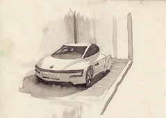 Volkswagen XL1 (Namtra) Tags: auto car watercolour dsseldorf bleistift conceptcar aquarell bleistiftzeichnung classicremisedsseldorf arnohartmann uskgermany uskdsseldorfklnnrw