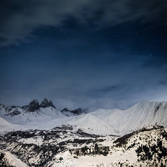Mountains by night (Zeeyolq Photography) Tags: snow france mountains alps nature night montagne