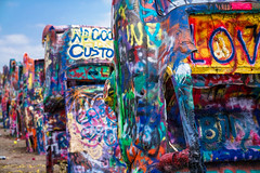 Cadillac Ranch iii (Eric Baggett) Tags: blue sky art love graffiti colorful texas americana spraypaint cadillacranch iconic photosofart sonya7rii sonyfe2470mmgm