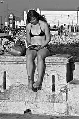 The girl with tattoos reading (pedrosimoes7) Tags: blackandwhite portugal girl reading blackwhite reader lisbon tattoos cc creativecommons lecteur lendo leitora lisant caisdascolunas thegirlwithtattoosreading