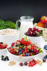 fresh berries, fruit, cereal and milk. black background for text (cook_inspire) Tags: morning red summer food white cooking closeup fruit breakfast cherry dessert cuisine wooden milk healthy strawberry berry natural sweet eating background cereal harvest cream mint plum lifestyle flake fresh gourmet oatmeal delicious blueberry health snack meal apricot organic concept diet product gooseberry oat ripe currants nutrition dieting muesli