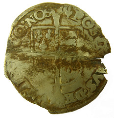 Philip & Mary groat after straightening 1554 - 1558 AD rev (Welcome to The PAST) Tags: gold hammered roman brooch medieval celtic viking flint saxon scraper neolithic ironage fibula romanobritish metaldetecting stater knapped samianware metaldetectingfinds