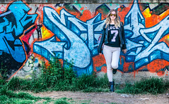 grafity fashion (Dimi Zervas) Tags: woman color colour girl sunglasses wall female walk sunny blonde 28 alpha sonya oss nex 1650 epz 5r emount