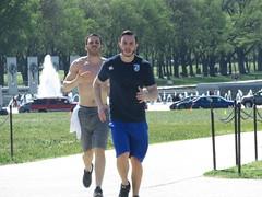 IMG_0644 (FOTOSinDC) Tags: shirtless man men muscles muscle candid handsome running sweaty sweat shorts jogging runner tee jogger