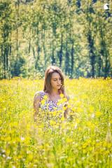 Walking in Spring (TsukiUsagi Photo) Tags: wood flowers trees sun verde green girl yellow alberi yard walking photo spring model dress giallo campo fiori sole tsuki prato usagi giulia ragazza valentina bosco modella gialli allaperto vestito bevilacqua baldin migiandone