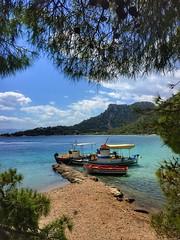 Colors of Greece (maryattica) Tags: trees sea summer sky colors landscape boats fishing greece grecia lovely grece
