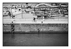 L'oeil du calmar gant (SiouXie's) Tags: city bw seine river graffiti blackwhite dock fuji noiretblanc rivire urbanart rouen fujifilm normandie normandy quai ville reportage fleuve 55200 arturbain siouxies fujixe2