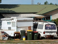 Crowded Yard (mikecogh) Tags: caravan van frontyard crowded rubbishbins whyalla