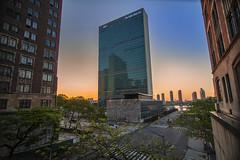 United Nations Building (Brandon Godfrey) Tags: nyc newyorkcity usa sunrise unitedstates unitedstatesofamerica midtown un unitednations unitednationsbuilding tudorcity tudorcitybridge