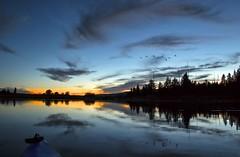 Sunset kayak (Patty Bauchman) Tags: sunset landscape kayak fullmoon idaho birdsinflight waterscape soundsofthenight rivernature islandparkidaho henrysforkofthesnakeriver runsetkayak