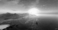 Ferne (alidamor.anatra) Tags: sea summer sky bw sun monochrome digital landscape meer sundown air trace landmark fresh sl secondlife sim sundbeam
