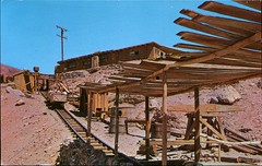 Tramway, Calico Ghost Town, Barstow, California (SwellMap) Tags: architecture vintage advertising design pc 60s fifties postcard suburbia style kitsch retro nostalgia chrome americana 50s roadside googie populuxe sixties babyboomer consumer coldwar midcentury spaceage atomicage