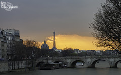 Orange sky (Lonely Soul Design) Tags: bridge paris tower long exposure arts eiffel des pont neuf