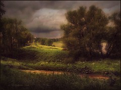 before the storm in Tarusa (odinvadim) Tags: travel sunset painterly church rain forest landscape evening textures iphoneart iphoneography iphoneonly snapseed painterlymobileart