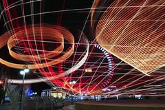 Light Trails (DigiPub) Tags: longexposure abstract japan horizontal night speed fun photography humor wave nopeople lookingup spinning lighttrails yokohama curve multicolored onsale twisted esp turning revised gettyimages 2007 lighttrail movingup colorimage computerequipment igniting 116286 543734632