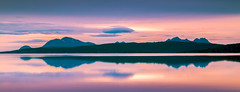 Mountains (andreassofus) Tags: lofoten mountains water reflections sunset midnightsun norway travel travelphotography nature landscape grandlandscape sky canonsummer summertime horizon clouds color colorful