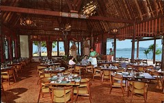 """The """"Fijian"""" Dining Room, Yanuca Bay, Fiji (SwellMap) Tags: architecture vintage advertising design pc 60s fifties postcard suburbia style kitsch retro nostalgia chrome americana 50s roadside googie populuxe sixties babyboomer consumer coldwar midcentury spaceage atomicage"""