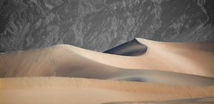 AS I LAY ME DOWN TO SLEEP.... (Irene2727) Tags: deathvalley california mesquitesandunes dunes sand curves flow mountain selectivecolor nature landscape scape sandscape