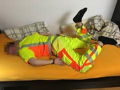 Handcuffed in High Viz (mustermannmax270) Tags: handcuffs handschellen highviz warnschutz arbeitskleidung hogtie fuseisen legirons fusschellen