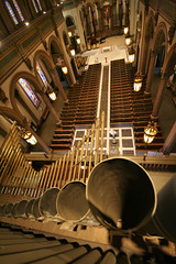 View from top of pipes