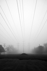 Splay (pantagrapher) Tags: morning bw mist chicago fog grid nikon gbrearview wires electricity chicagoist d600