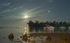 Moonlight landscape Yacht (shaa-fiL) Tags: nightphotography moon reflection water night photography 50mm nikon yacht moonlight maldives nikond610