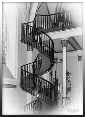 Spiral Staircase - Sante Fe, NM (Sugardxn) Tags: bw newmexico santafe church stairs spiral chapel staircase santefe nm spiralstaircase loretto picswithframes