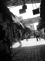 Morocco (leemclean94) Tags: africa blackandwhite bw lines architecture fuji shadows streetphotography el arabic morocco marrakech leading fna jemaa arabicarchitecture