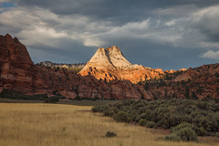 Evening in Zion (Jeffrey Sullivan) Tags: park travel copyright usa sunlight jeff nature clouds canon landscape photography evening utah photo sandstone terrace united september national zion states sullivan 2009 mesa springdale kolob 5dmarkii