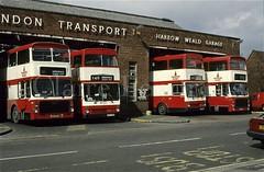 Harrow Weald Garage, West London, 1989 (Lady Wulfrun) Tags: london ford volvo granada mk2 1989 ailsa 1980s lt westlondon harrow metrobus deregulation mcw alpha9 wmpte harrowweald harrowbuses e476son harrowwealdgarage e471son jov771p jov770p alphanine