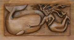 Nail Biter (David K. Edwards) Tags: woman wooden bed attack carving headboard swimmer whale