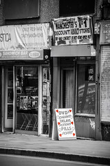 Adult store 's (tootdood) Tags: street blackandwhite signs colour window glass shop manchester store adult dale selective  aboard s canon70d emblems