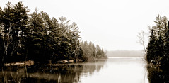 open water (A. Wrench) Tags: trees mist lake reflection ice nature water wisconsin forest river landscape spring woods stream shoreline overcast evergreen springtime