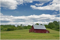 Clouded (shannon4462) Tags: sky color field clouds contrast rural nikon farm maryland redbarn clouded d7000