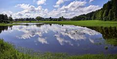 Juni-Hochwasser auf der Böhmwiese (Helmut Reichelt) Tags: leica panorama juni germany deutschland bavaria oberbayern spiegelung regen frühling hochwasser überschwemmung leicam geretsried böhmwiese leicasummilux35mmf14asphii colorefexpro4 typ240 regensee captureone9