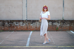 Ladylike Spring/Summer look: Plain white tee, pastel grey assymetric hem midi skirt, grey strappy heels, headscarf | Not Dressed As Lamb (Not Dressed As Lamb) Tags: summer white fashion grey spring style tshirt skirt blogger midi relaxed fashionista tee ss16