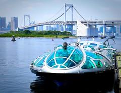 Suijobus Himiko,Tokyo Odaiba (sapphire_rouge) Tags: shore  japan   japanese fortress  beach seaside   bridge tokyobay  rainbowbridge coast bay suijobus himiko aoumi    wangan rinkaihukutoshin kotoku