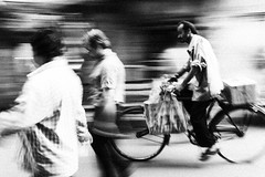 Passing Bicycle (anthonypond) Tags: bw india bicycle panning kolkata calcutta 35mmsummilux leicam9