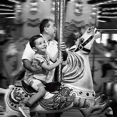 Happy Father's Day (Repp1) Tags: bw canada bc father grandfather son carousel nb burnaby carrousel fils pre burnabyvillagemuseum grandpre