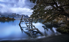 The Peaceful (Jay Daley) Tags: chile patagonia mountains abandoned southamerica nikon torresdelpaine ladder pehoe longexplosure d810