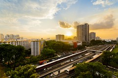 Gold (tterencechung) Tags: sunset train landscape singapore cityscape mrt hdb urbanscape angmokio