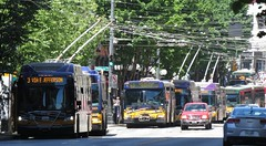 2016-06-06 Mess of buses on 3rd Ave (zargoman) Tags: metro kingcounty newflyer electric trolley kingcountymetro seattle downtown traffic jam bus travel transportation transit diesel highfloor lowfloor d60 xt40 orion vii overhead electrical wires grid power