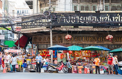 Bangkok Chinatown (Evgeny Ermakov) Tags: street city red people urban asian thailand town asia southeastasia chinatown market bangkok crowd motorbike moto vendor marketplace local southeast sell selling seller crowded streetmarket editorialuse