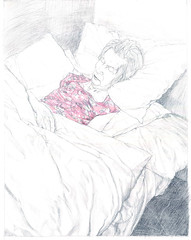 Mum in a Pink Nightie (larosecarmine) Tags: art home bed drawing sleep mother johnson caroline documentary mum elderly care dementia nightdress