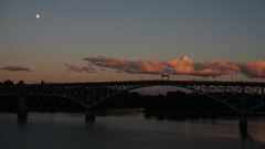 Moon (Franklyn W) Tags: sunset oregon portland dusk pacificnorthwest pdx pnw willametteriver rossislandbridge twitter tumblr tillicumbridge