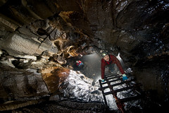 TC7973 (ChunkyCaver) Tags: water waterfall limestone pitch cave ladder caving formations spelunking calcite flowstone caver