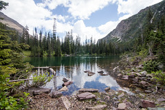 Lower Rowe Lake Shore Line (leah.kling) Tags: trip trees sky mountain lake canada mountains green water forest river landscape photography waterfall stream hike trail alberta waterton
