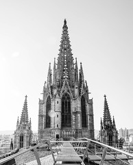 The Spires of the Barcelona Cathedral (James*J) Tags: barcelona bw white black church saint spain catholic cathedral roman spires religion gothic catalonia christian spire holy quarter christianity eulalia